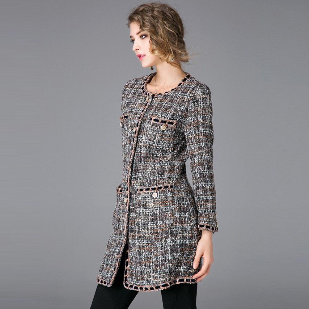 2018 Poitrine Nouveau Manteaux Automne De Tweed Col Femmes The Rond Manteau Picture Mi Slim Veste Color Vestes Femme Long Unique Poches Laine FxFr0qwfn