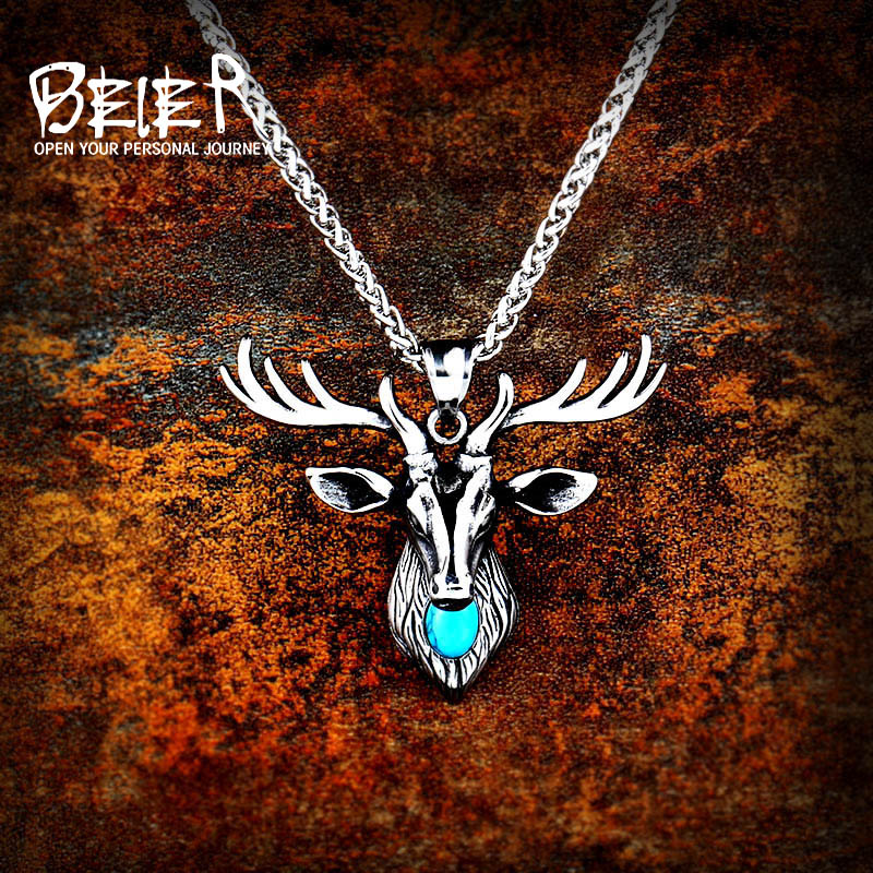 Beier 316L stainless steel cool Deer head Amulet nose Viking necklace Men gift Fashion Jewelry High Quality animal LHP057