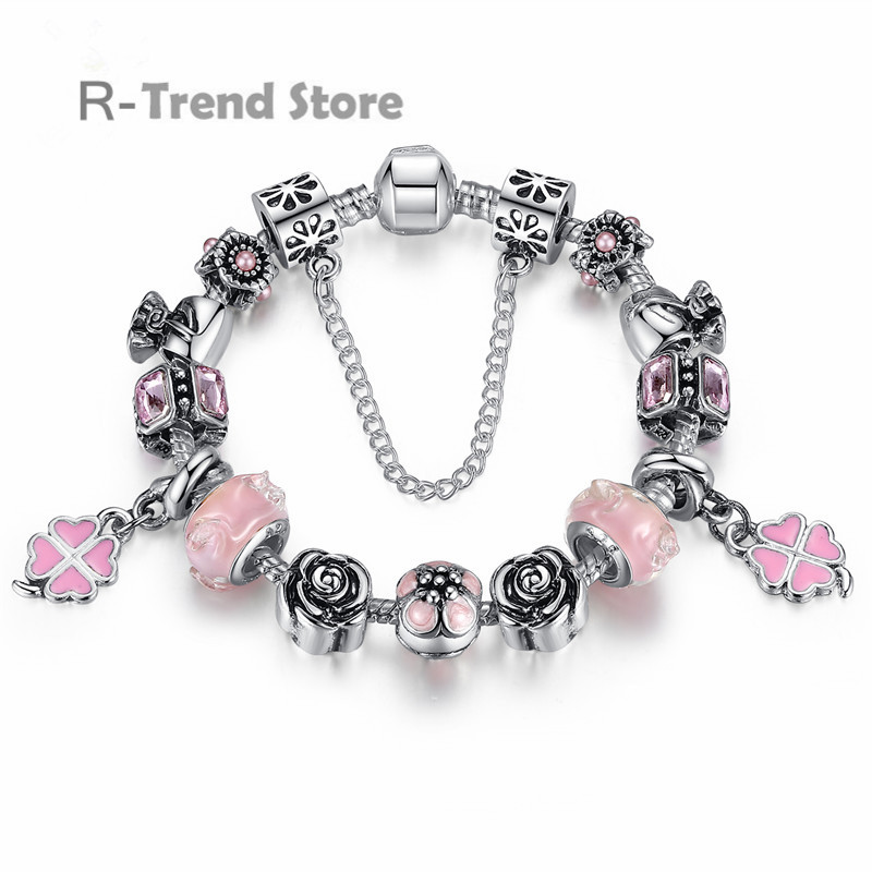 Clover Charms Bracelet Women Pink Bracelets Bangles For Female Silver Plated Diy Jewelry PA1451