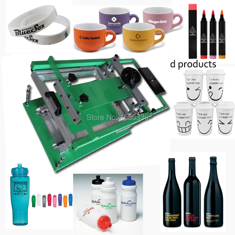 manual printing machine for paper cups/silicon wristband/bottles/mugs semi auto screen printing machine for pens bottles cups