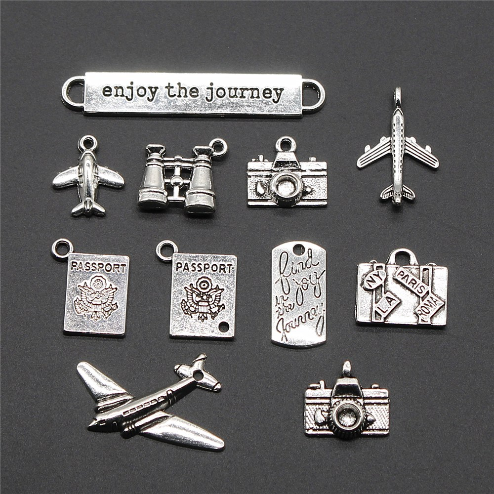 10pcs Antique Silver Aircraft Airplane Plane Charms Pendant DIY Jewelry Findings