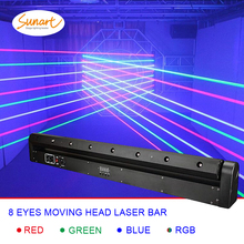 Free shipping 8 eyes RGB stage effect laser bar beam lighting for dj disco moving head projector wash spot dmx control light free shipping 4 heads 60w led mini beam moving head light professional stage dj lighting dmx controller disco projector lasers