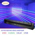O envio gratuito de 8 olhos rgb efeito estágio barra laser feixe iluminação para dj disco movente cabeça projetor lavagem ponto dmx controle luz