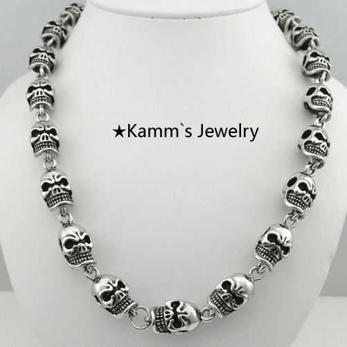 Party Charms Skull Necklace Punk chain 316L Stainless Steel Casting Biker Chain Top Quality Heavy Cool Hip Hop Rock Hot KN277 kalen punk exaggerate men s statement necklaces rock 316 stainless steel skull charm 65cm long necklace cool biker pub accessory
