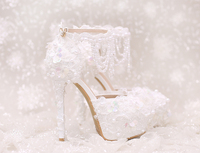 Wedding Shoes Bride Sandals White Buckle Strap Sweety Party Princess Clear Sequin Pearls Beading Tassel Platform 14cm High Heels