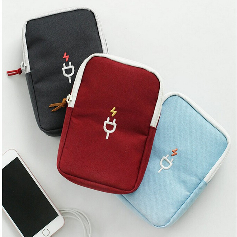 Portable Earphone Data Cable USB Travel Portable Case Organizer Pouch Travel Accessories Free Shipping