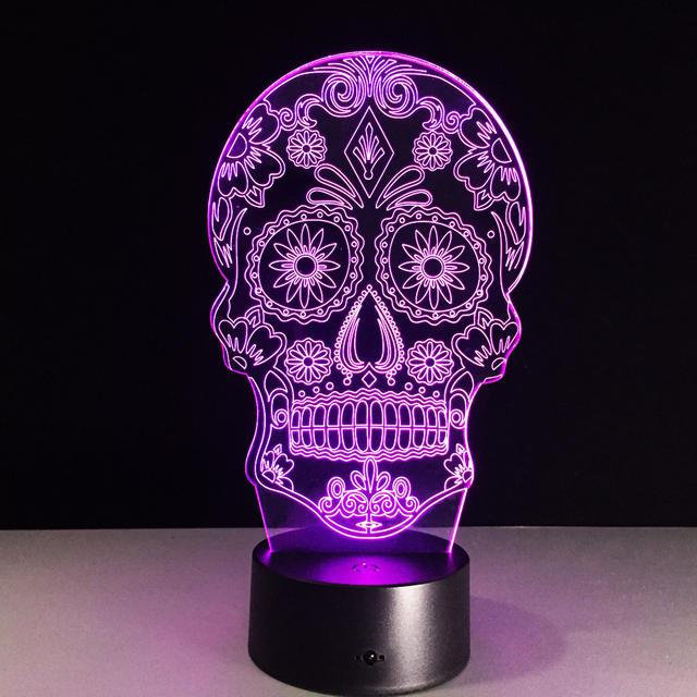 7 COLORS CHANGE 3D SUGAR SKULL LED LAMP