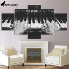 лучшая цена 5 piece canvas painting old man plays the piano HD posters and prints canvas painting for living room free shipping XA2185C