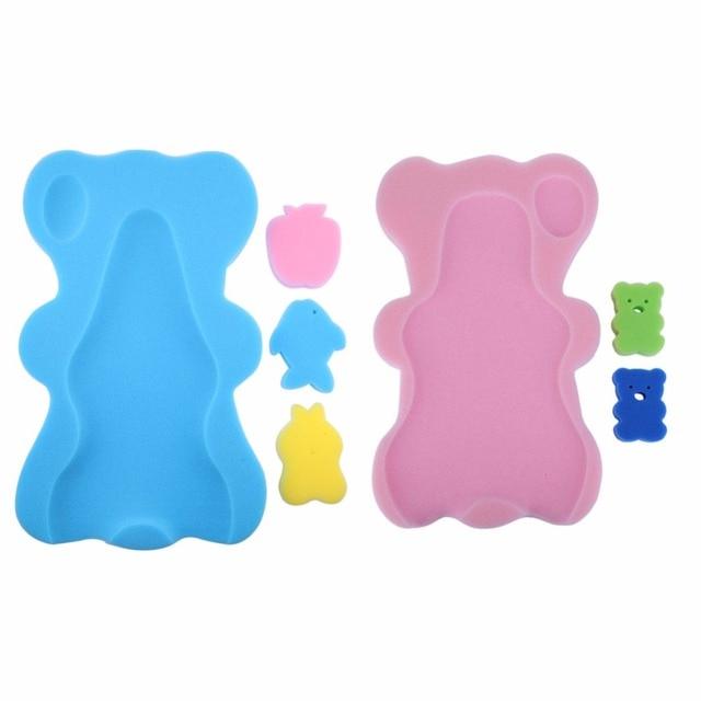 Baby Bath Holder Mesh Pocket Bed Infant Anti-slip Shower Sponge Cushion Baby Shower Nets Newborn Baby Bath Cushion Baby Bath Pad