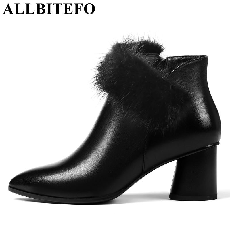 ALLBITEFO natural genuine leather +real Rabbit's hair women martin boots shoes for girls winter ankle boots motorcycle boots allbitefo natural genuine leather snake texture cow leather women ankle boots fashion sexy motorcycle boots girls winter shoes