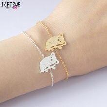 Pulseira koala australiana para mulheres, bracelete de aço inoxidável com corrente dourada, bijuteria para presente