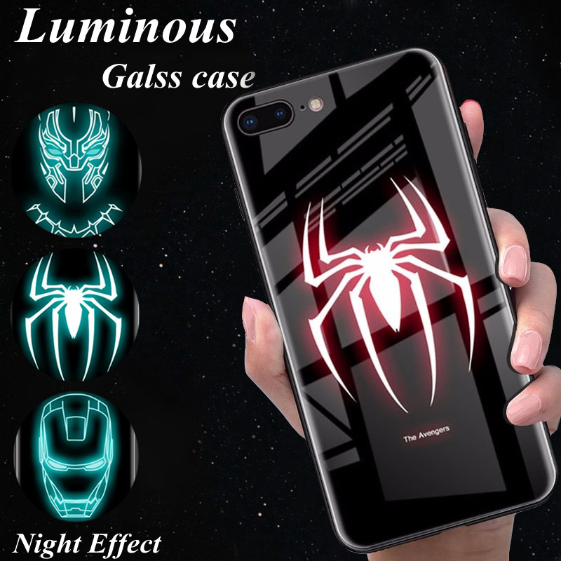 For iphone 7 Marvel Luminous Glass Phone Case For iphone 6 s 6s 7 8 Plus X iphone XR XS Max Iron Man Spider Black Panther Cover чехлы марвел