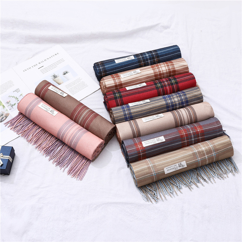 LaMaxPa 2018 New Fashion Winter Warm Plaid   Scarf   For Women/Lady Double Sides Wool Pashmina Shawl Long Cashmere Female   Wraps   Cape
