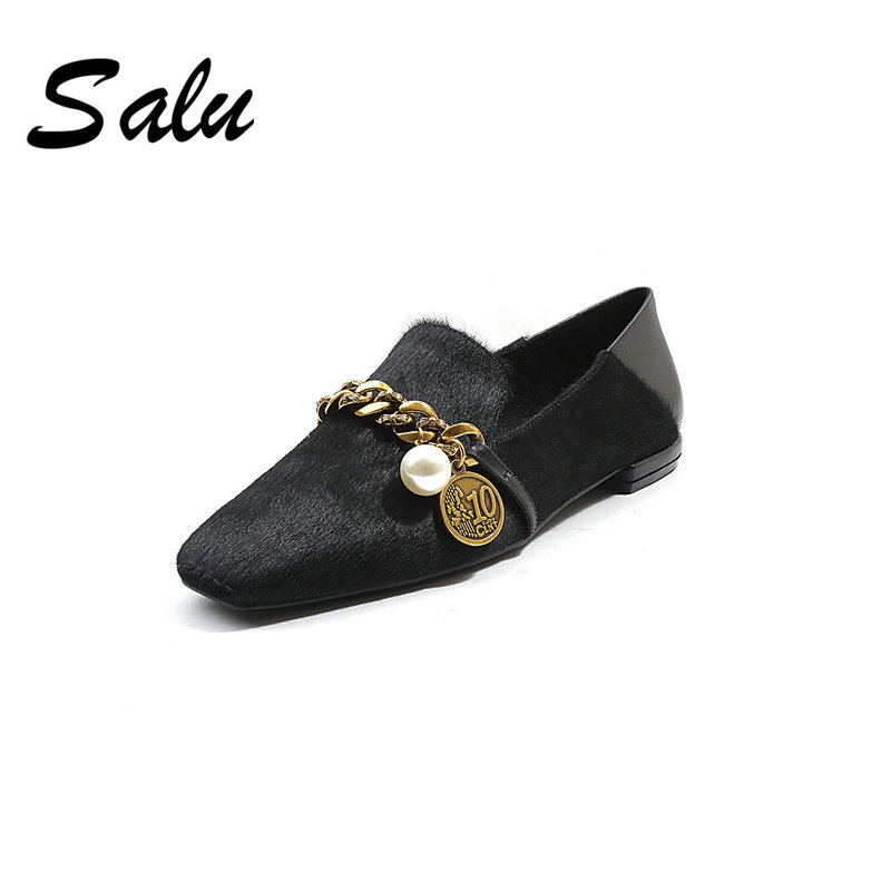 Salu BIG ZISE 34 42 Shoes Woman Pumps Suede Leather Medium Heels Classic Shoes Round Toe
