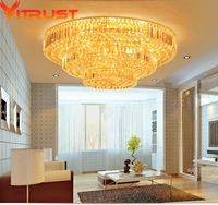 Factory Direct Gold Living Room Round Crystal Lamp Living Room Bedroom LED Ceiling Lamp Yellow Crystal