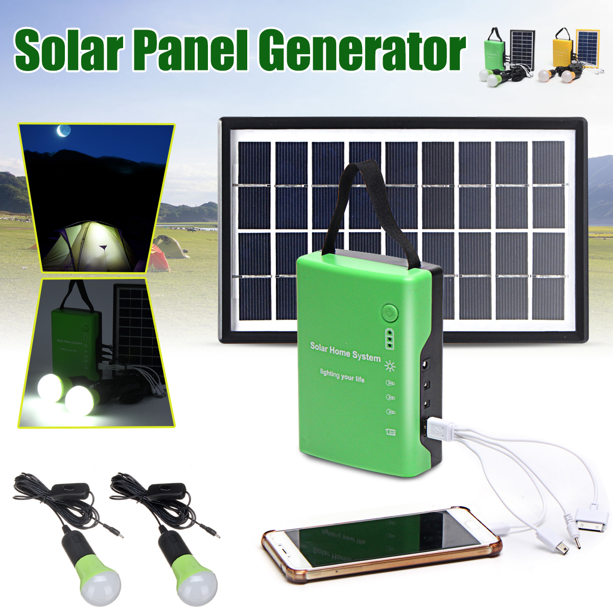 Portable Home Outdoor Solar Panel Power Generator USB Cable Charge Emergency LED Light System 4.5Ah / 6V batteries Energy LED