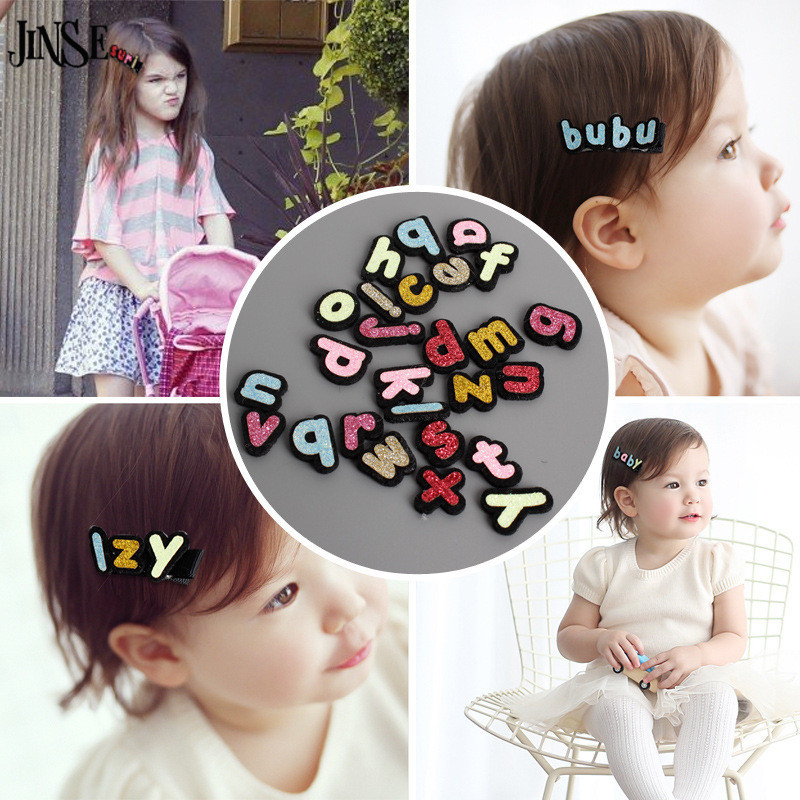FHS015 New Free combination name letter hairpins Handmade cute hair side clip hairwear for baby girl Alligator  jewelry