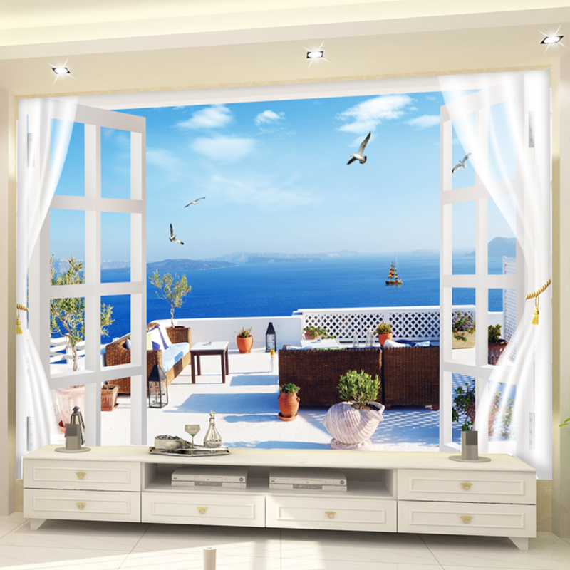 Custom 3D Photo Wallpaper Seascape Beach Palm Wall Covering Mural Roll For Living Room Bedroom Background Wallpaper Room Decor custom photo wallpaper 3d stereoscopic cave seascape sunrise tv background modern mural wallpaper living room bedroom wall art