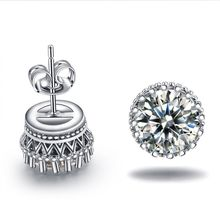 wholesale Luxury silver plated jewelry purity zirconia vintage Crown stud earrings for women wedding bijoux Accessories MYE001