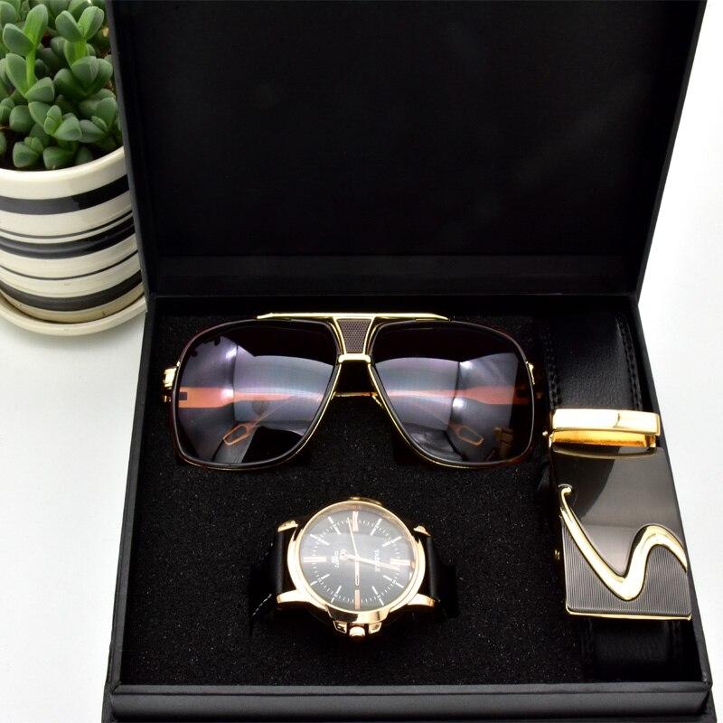 Haute qualité hommes d'affaires cadeau ensemble lunettes de soleil ceinture garçon anniversaire surprise quartz montre cadeau boîte nouvel an cadeau y compris boîte