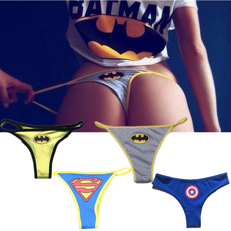 Sexy Women's Superhero Batman Captain America Superman Cartoon Underwear G-String Panties Lingerie