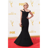 Sexy Black Mermaid Celebrity Dresses Julie Bowen Red Carpet Dresses 67th Emmy Awards Party Dress Ruched Floor Length