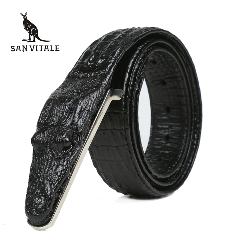 Crocodile Belts for Men Cowhide Genuine Leather Luxury Brand Strap Male Buckle Belt Fancy Vintage for Jeans Cintos Dropshipping