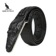 Ремень мужской из натуральной кожи под крокодила, роскошный брендовый винтажный пояс с пряжкой для джинсов