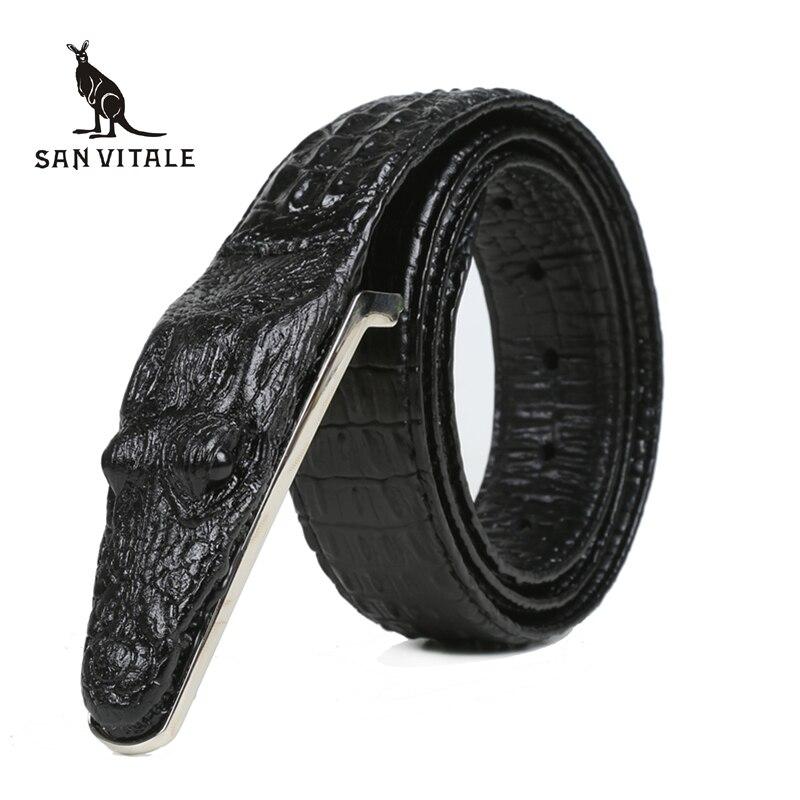 Crocodile ceintures pour hommes peau de vache en cuir véritable marque de luxe sangle mâle boucle ceinture fantaisie Vintage pour Jeans Cintos livraison directe