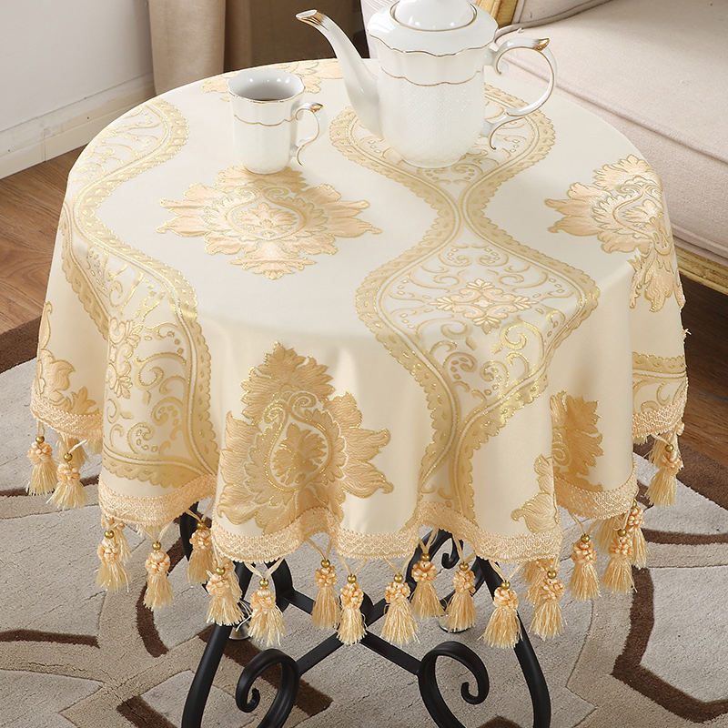 European Table Cloth Round  Luxury Table Cover Jacquard  Lace Tablecloth For Wedding Party Banquet Retro Tablecloths Tassel