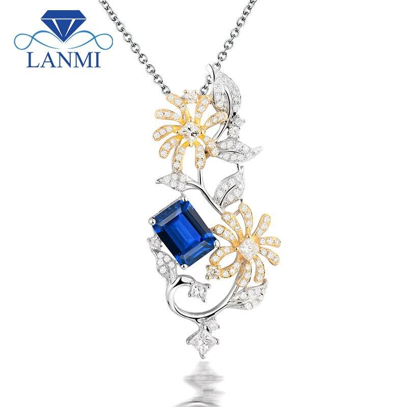 купить Noble Jewelry Emerald Cut 6x8mm Solid 18K Two Tone Gold Natural Diamond Tanzanite Pendants Jewelry for Women WP070 по цене 96896.44 рублей