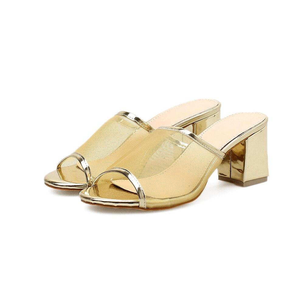 Для женщин Гренадин Шлёпанцы открытый носок обувь на высокой танкетке 7 см каблук слипоны летние Мокасины Тапочки цвета: золотистый, серебр...