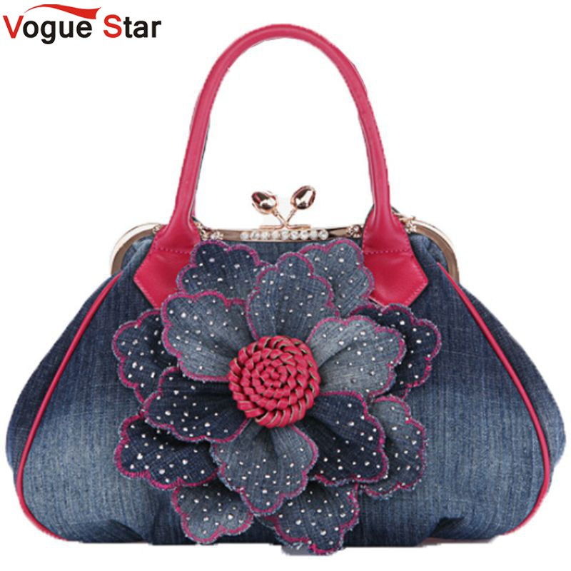 Vogue Star 2017 Top Quality Brand New Women Bag Fashion Denim Handbags Flower Sh