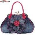 Vogue star 2017 top qualidade da marca mulheres novo saco de moda denim bolsas flor ombro projeto sacos das mulheres sacolas ls376