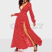 CUERLY Women Polka Dots Split Sexy Maxi Dress 2019 Bohemian High Waist Pleated Female Fashion Runway Big Swing Long Dresses