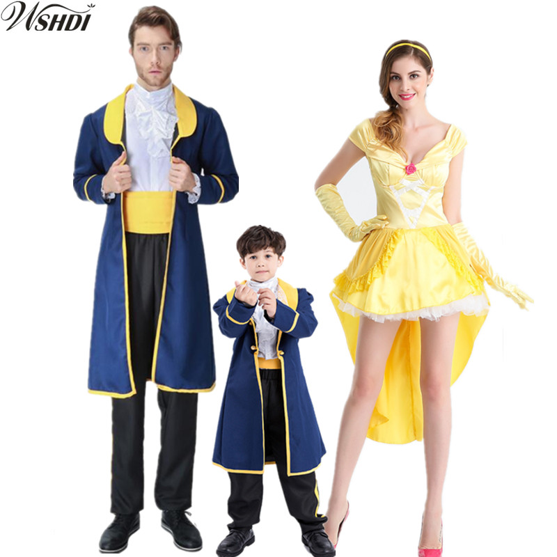 Movie Adult Children Beauty And The Beast Costume Adam Party Cosplay Men Boy Clothes Women Sexy Belle Princess Yellow Dress Aliexpress