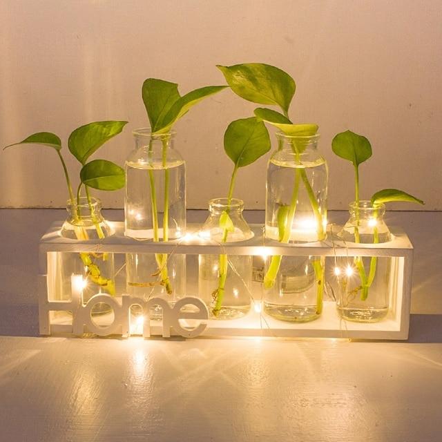 Creative Nightlight Led Clear Gl Vase Hydroponics Plant Room Ornaments Living Flower Table
