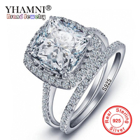 YHAMNI Real 925 Silver Rings Wedding Ring Silver Color AAAAA Crystal CZ Couple Rings Set For