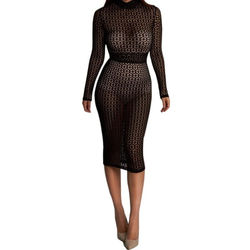 Новая мода длинные рукава sexy кружева перспективные точки dress