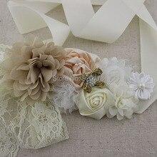 10 шт/партия цветочный бежевый и слоновой кости свадебный пояс Винтажный стиль слоновой кости цветок пояс для беременных цветок пояс с цветами для девушки