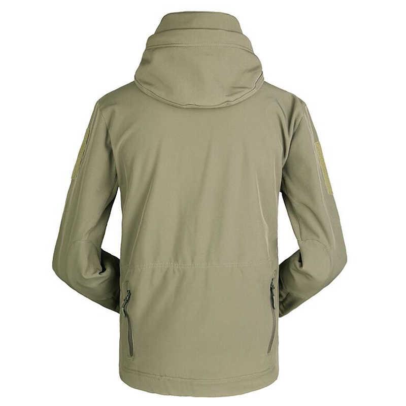 Мужская тактическая куртка в стиле милитари, камуфляжная мягкая водонепроницаемая куртка с капюшоном, флисовый теплый плащ