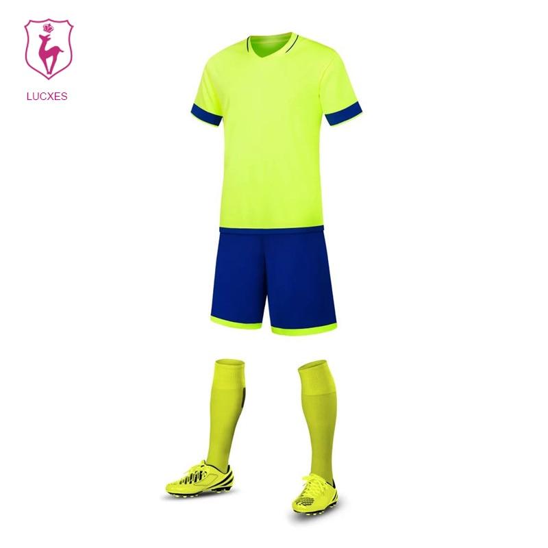 LUCXES High Quality Soccer Jerseys 2018 Men Custom Team Football Uniforms Sets College Soccer set Uniforms Kits Adult DIY .06