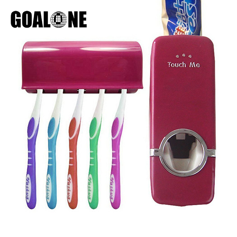 GOALONE 2Pcs/Set Toothbrush Holder Hands Free Automatic Toothpaste Squeezer with Wall Mount Toothbrush Holder Set for Bathroom image