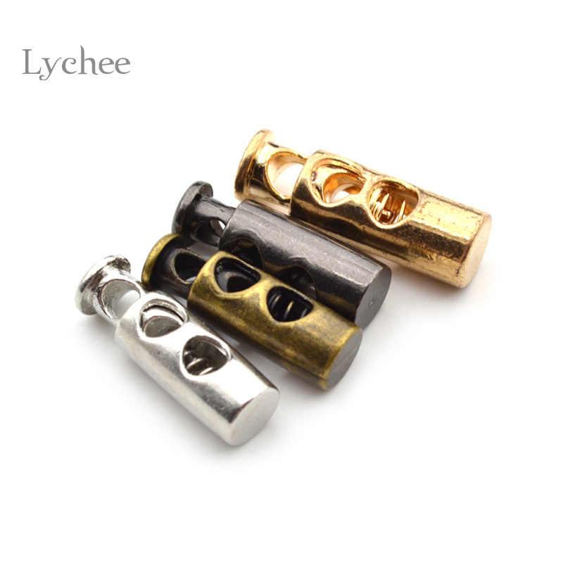 Lychee Life 10 sztuk Vintage kolor metalu korek DIY akcesoria do naszycia na odzież metalowy zacisk korek przewód blokady przełącz