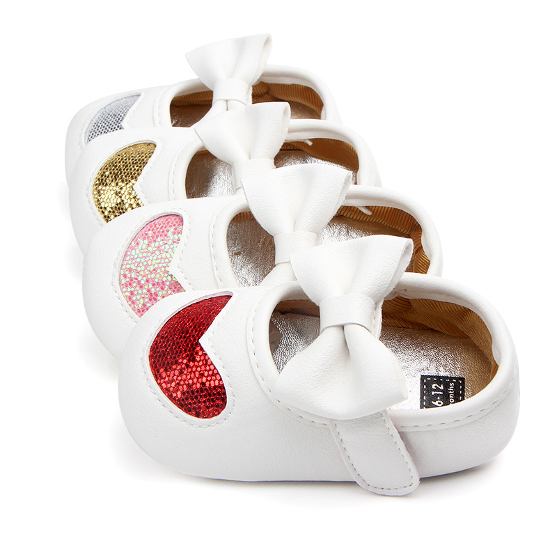 Fashion Baby Princess Shoes PU Leather First Walker Shinning Love Pattern With Bow Baby Girls Soft Soled Shoes For Newborn