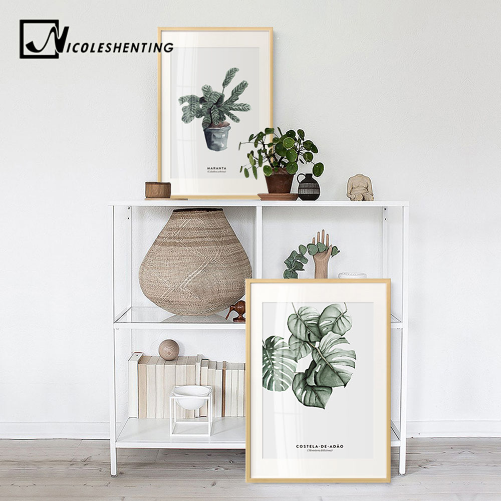 Watercolor Plants Leaves Vintage Posters Wall Art Canvas