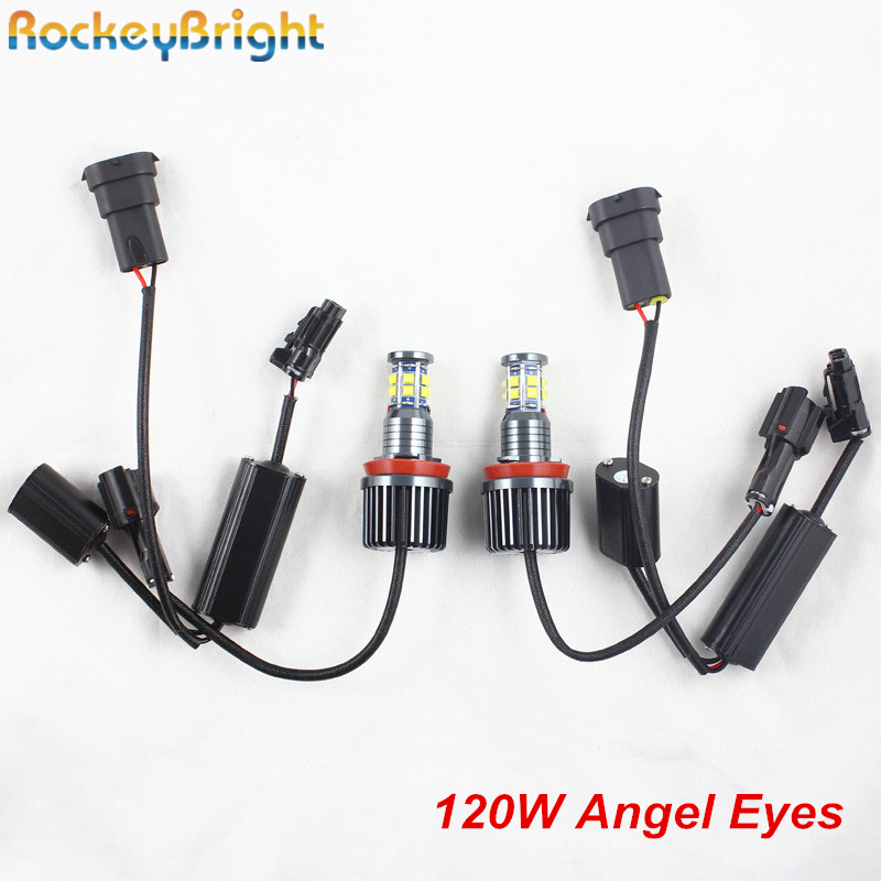 Rockeybright canbus 12V 120W 240W h8 led angel eyes bulb halo ring lights for bmw e90 e91 e92 e87 f01 f02 marker led angel eyes rockeybright 12v 40w bright led marker headlight bulb for bmw e90 e90 lci 7000k white led angel eyes for bmw e90 led headlight