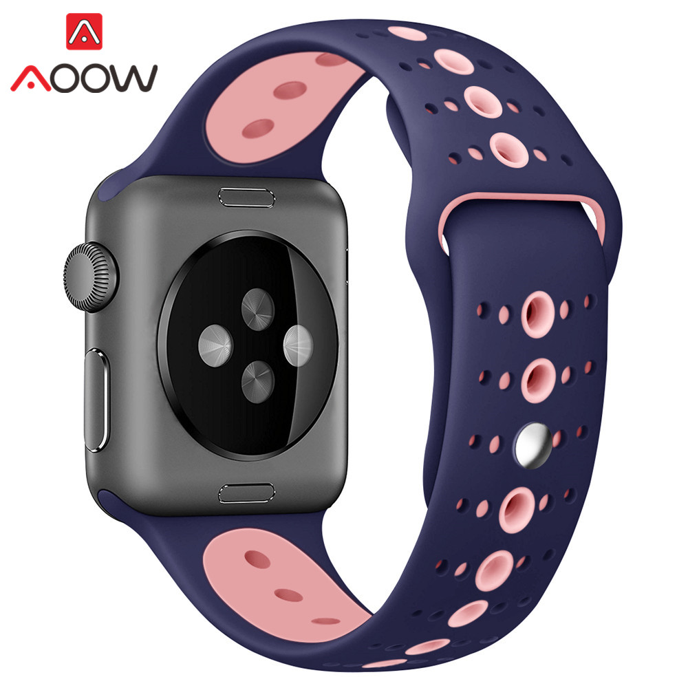Sport Silicone Watchband for Apple Watch 38mm 42mm Double Color Rubber Women Men Replace Bracelet Band Strap for iwatch 1 2 3Sport Silicone Watchband for Apple Watch 38mm 42mm Double Color Rubber Women Men Replace Bracelet Band Strap for iwatch 1 2 3
