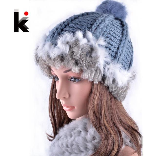 2017 Winter girls rex rabbit fur beanie hat with ears knitting patterns touca hats for women beanies cap female