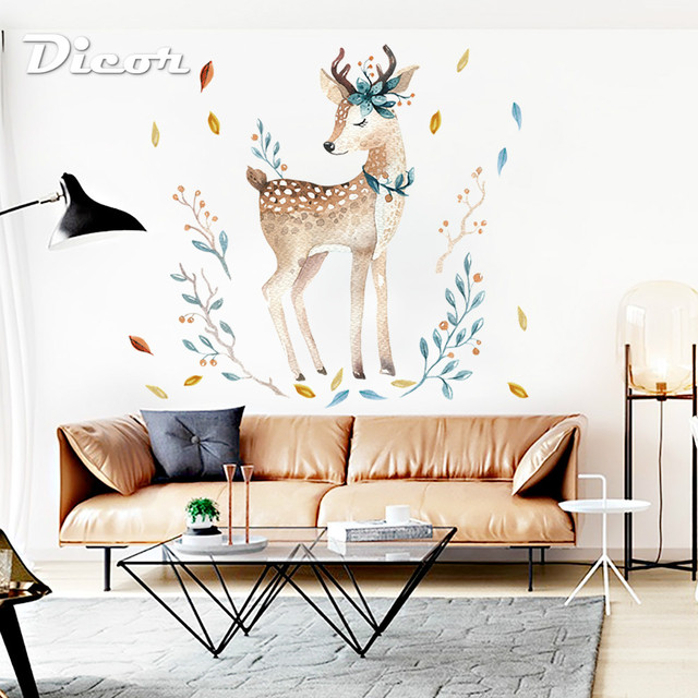 DICOR malowane Fawn naklejki ścienne zwierzęta śliczne do dekoracji salonu DIY naklejka ścienna wymienny do nauki wystrój domu QT289